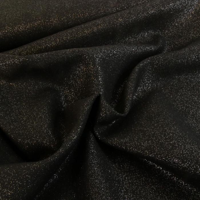 Tissu lin et viscose noir pailleté argent x 10cm