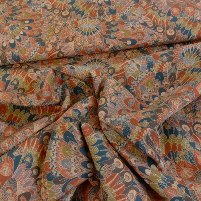 Tissu coton élasthane liberty Eben - marron x 10 cm