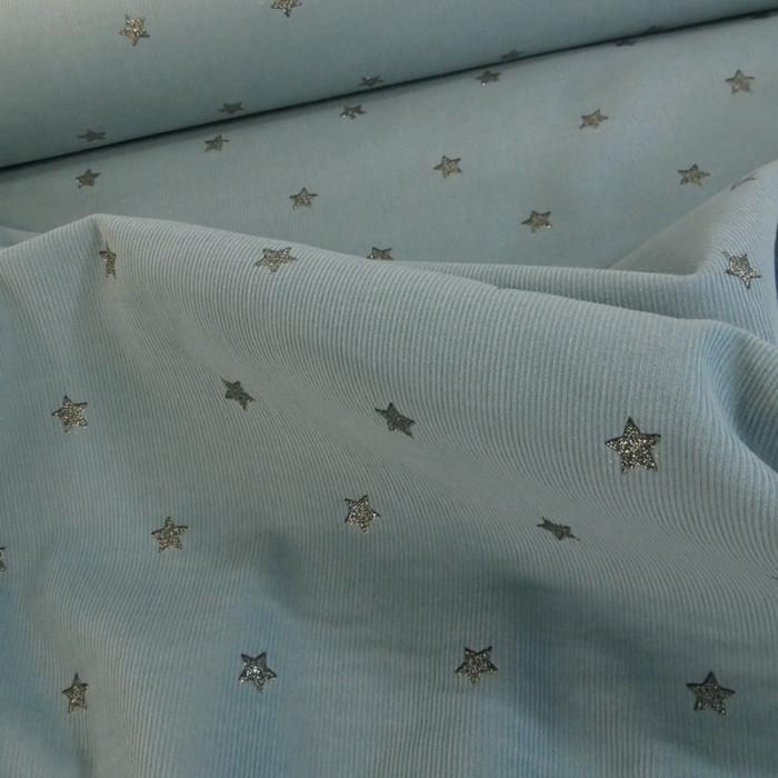 Velours milleraies étoiles glitter - bleu gris x 10 cm
