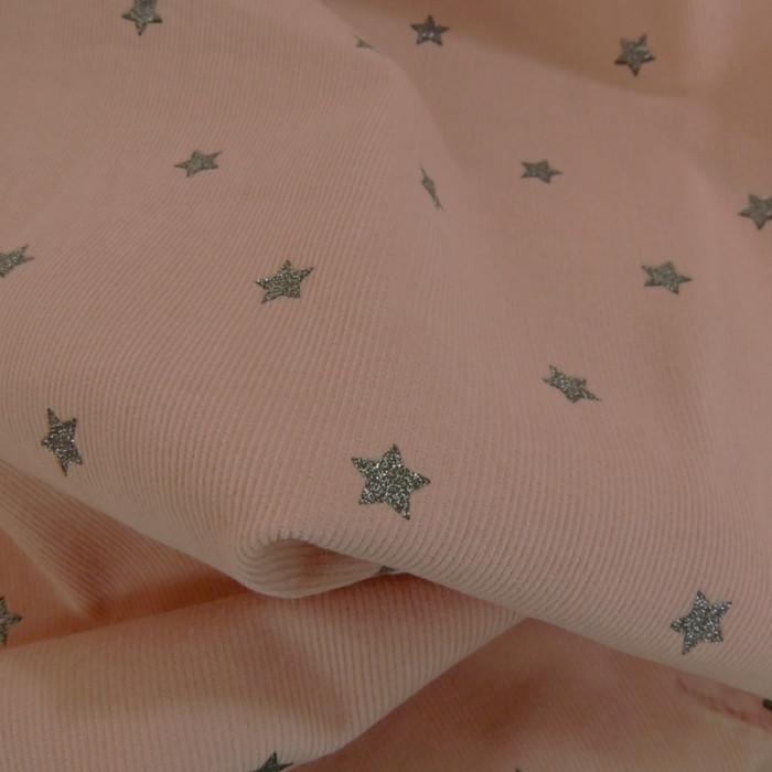 Velours milleraies étoiles glitter - rose x 10 cm