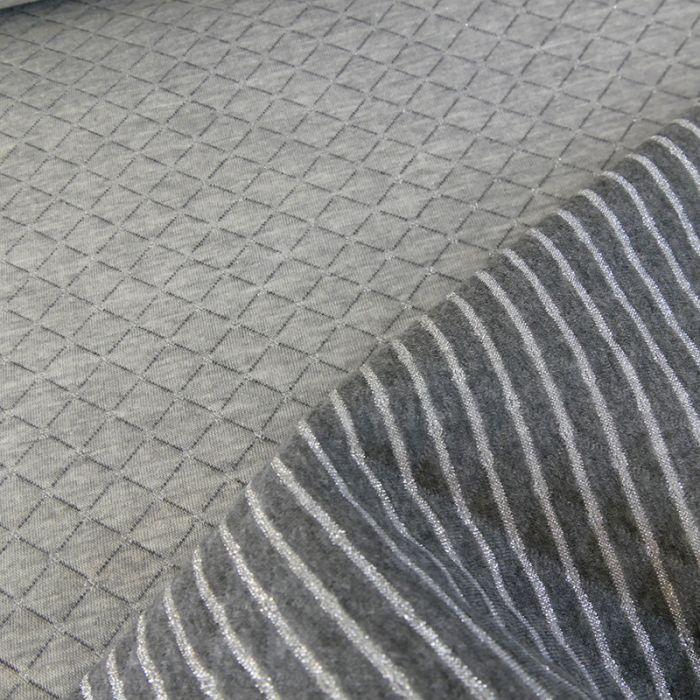 Jersey matelassé réversible gris - argent x 10 cm
