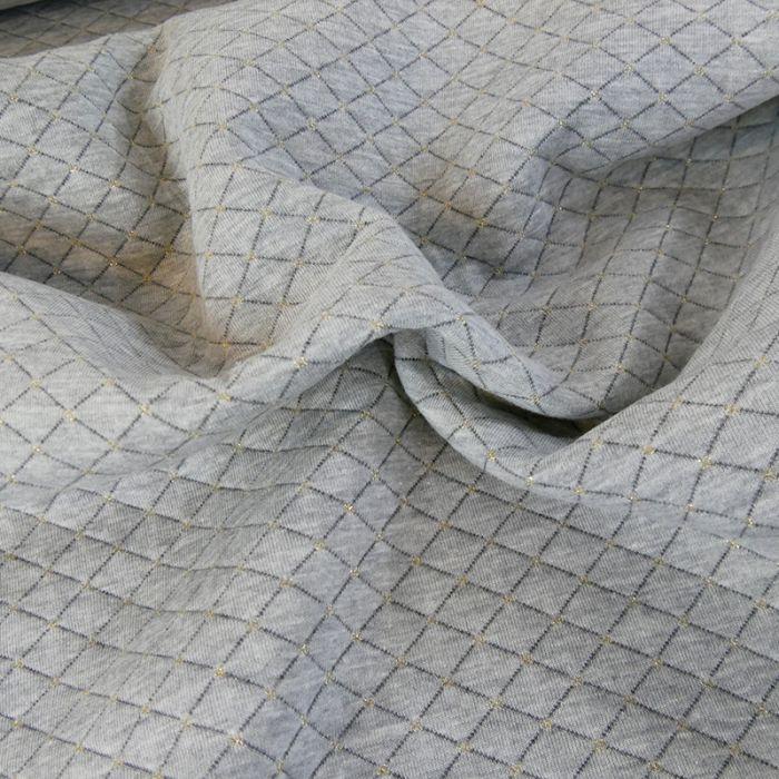 Jersey matelassé réversible gris - or x 10 cm