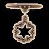 Fermoirs en T fleurs 20mm cuivre