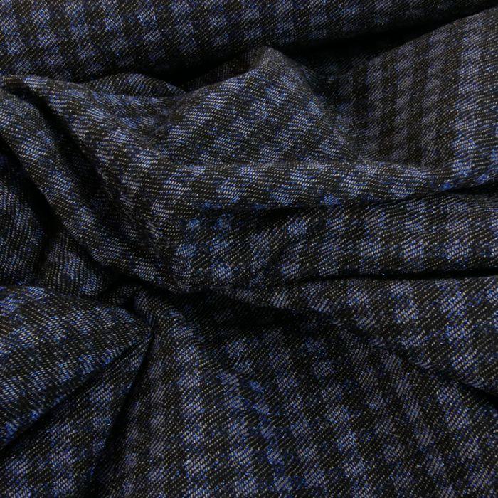 Tissu maille viscose laine carreaux - bleu x 10 cm