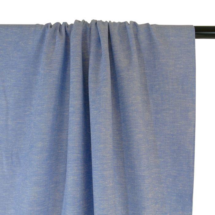 Tissu chambray lin et viscose - bleu x 10cm