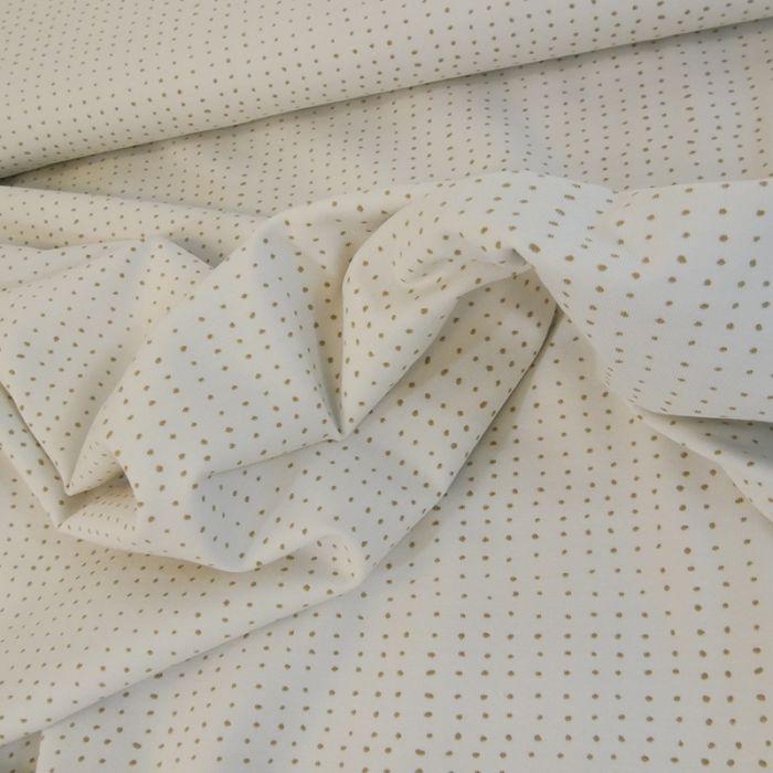 Tissu jersey bio points - marron x 10 cm