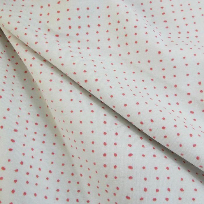 Tissu jersey bio points - rose x 10 cm