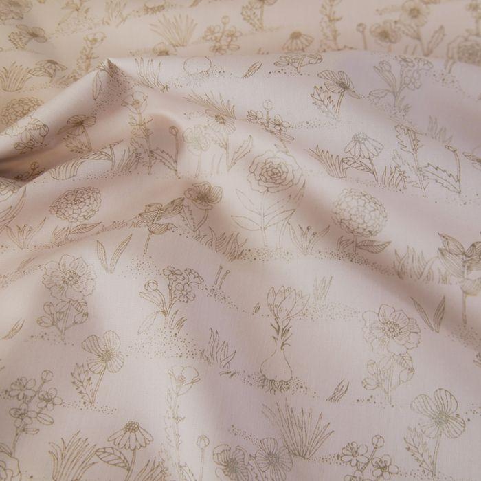 Tissu coton fleurs métallisées - rose x 10 cm