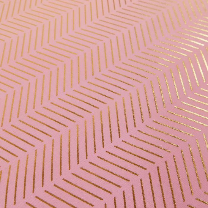 Tissu coton rayures métallisées - rose x 10 cm