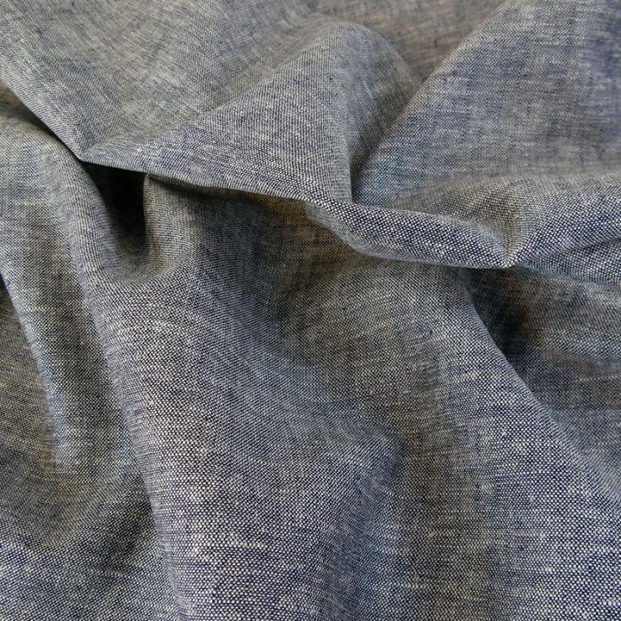 Tissu chambray lin et viscose - bleu foncé x 10cm