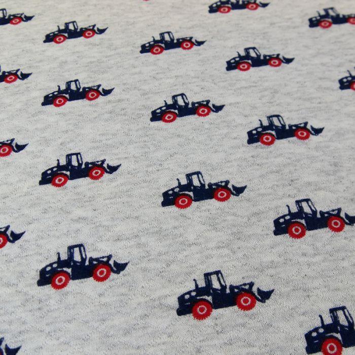 Jersey matelassé tracteurs - gris x 10 cm