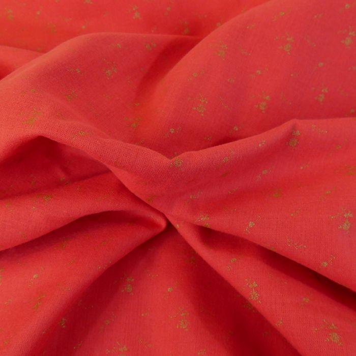 Tissu double gaze fleurs or - coquelicot x 10 cm