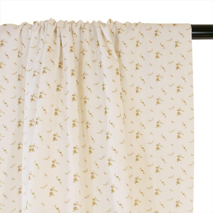 Tissu double gaze fleurs or - blanc x 10 cm