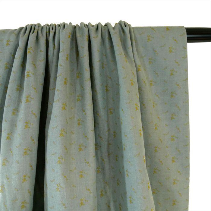 Tissu double gaze fleurs or - vert de gris x 10 cm