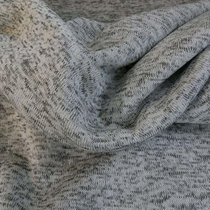 Sweat maille tricot chiné - gris clair x 10 cm
