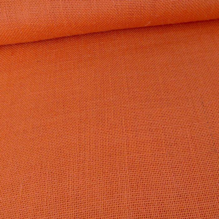 Tissu toile de jute - orange x 10 cm