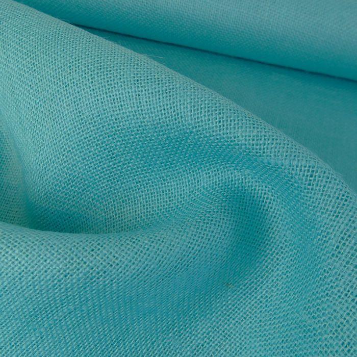 Tissu toile de jute - turquoise x 10 cm
