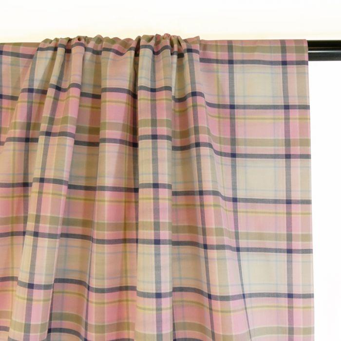 Tissu voile coton carreaux - rose x 10 cm