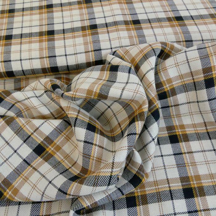 Tissu coton carreaux - camel x 10 cm