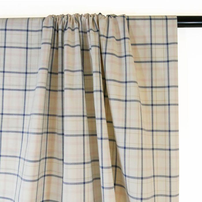 Tissu popeline coton carreaux - écru x 10 cm
