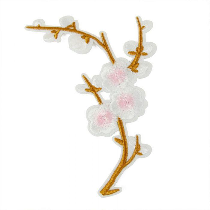 "Ecusson thermocollant branche de cerisier ""sakura"" blanc"