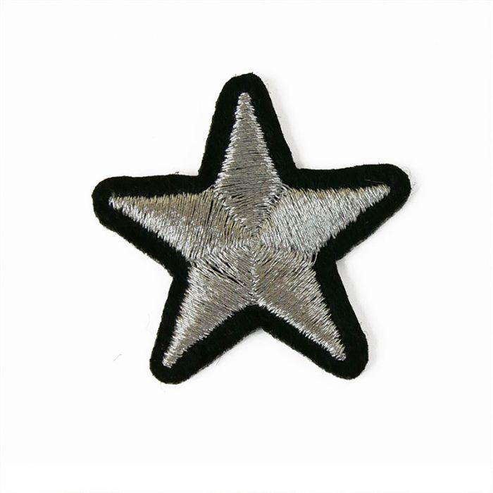 Ecusson thermocollant petite étoile argentée