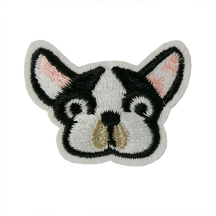 Ecusson thermocollant petit chien noir et blanc