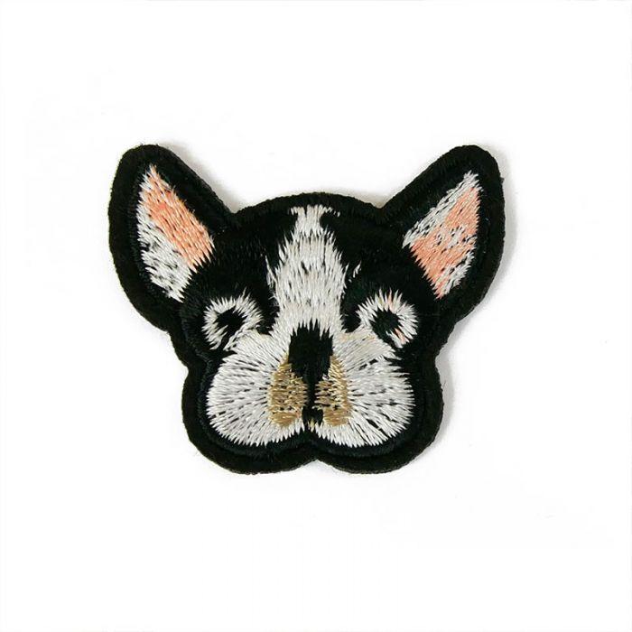 Ecusson thermocollant grand chien noir et blanc