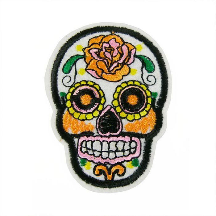"Ecusson thermocollant tête de mort mexicaine ""calavera"" blanche"