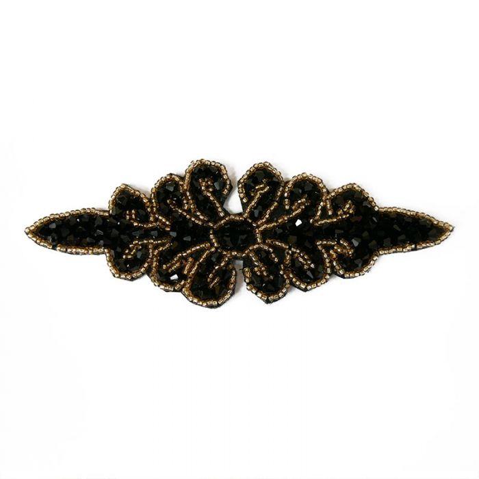 Motif perlé à coudre noir et or 14 cm