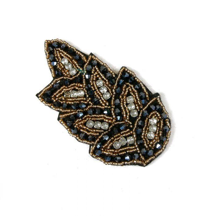 Motif perlé et strassé à coudre noir et or 10,5 cm