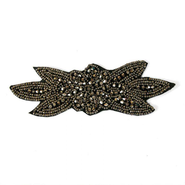 Motif perlé à coudre noir et argent 16,3 cm