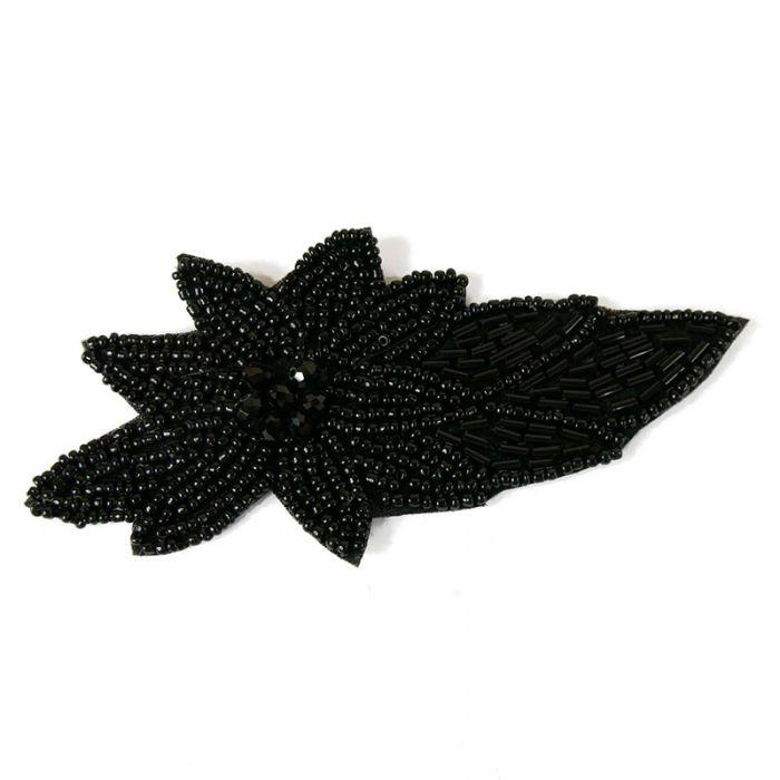Motif perlé à coudre noir 13 cm