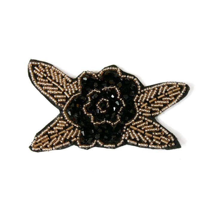 Motif perlé à coudre noir et or 10,5 cm