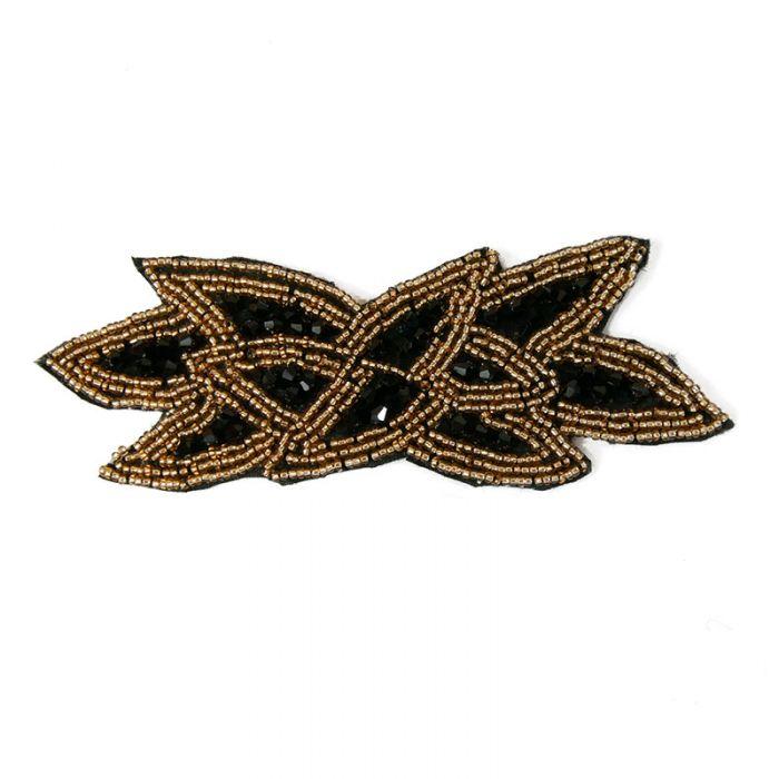 Motif perlé à coudre noir et or 14,5 cm