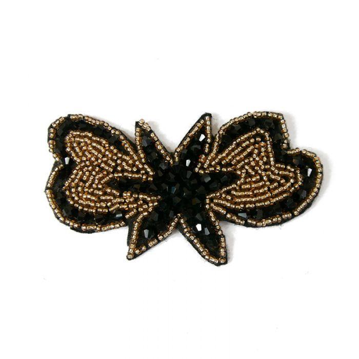 Motif perlé à coudre noir et or 9,5 cm