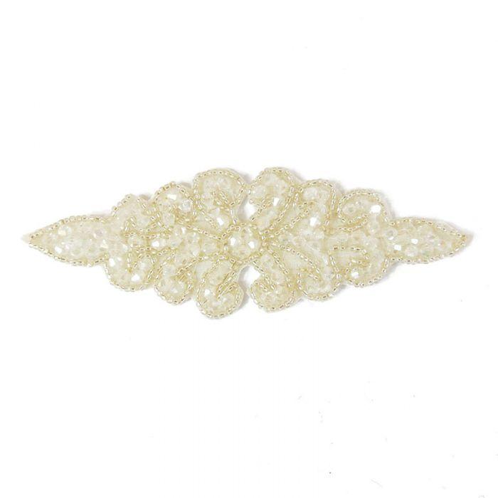 Motif perlé à coudre blanc et argent 14 cm