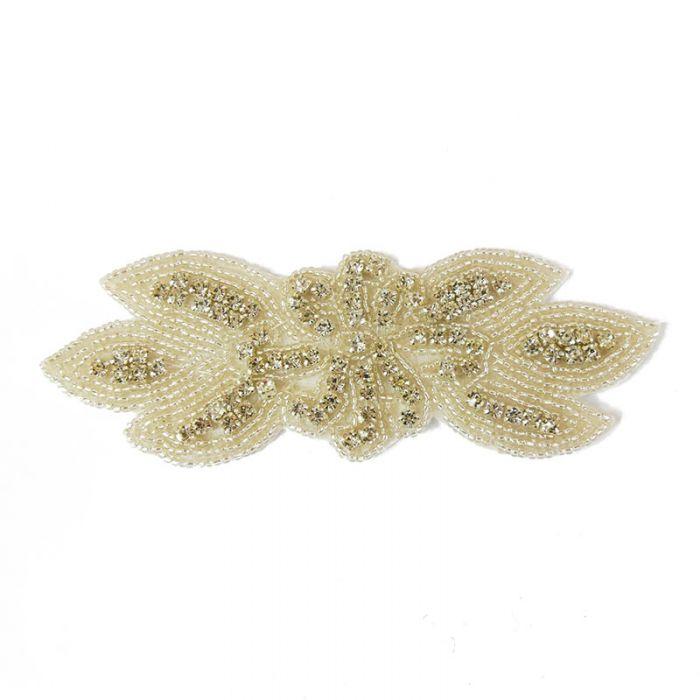 Motif perlé et strassé à coudre blanc et argent 14,5 cm