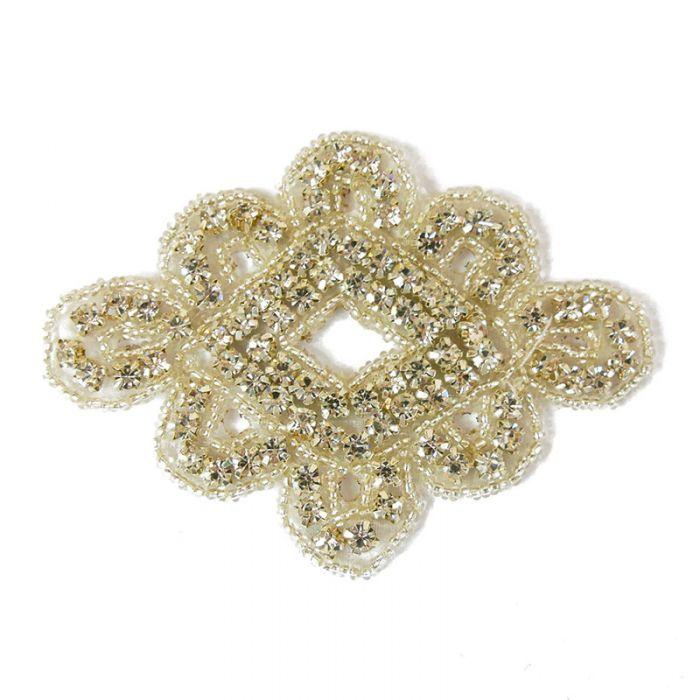 Motif perlé et strassé à coudre blanc et argent 9 cm