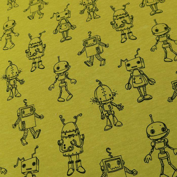 Tissu jersey Robotic Poppy - jaune banane x 10 cm