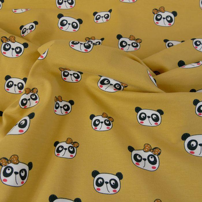 Tissu jersey pandas - moutarde x 10 cm