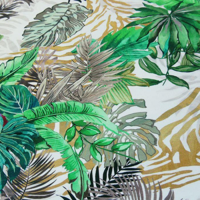 Tissu jersey feuillages - vert x 10 cm