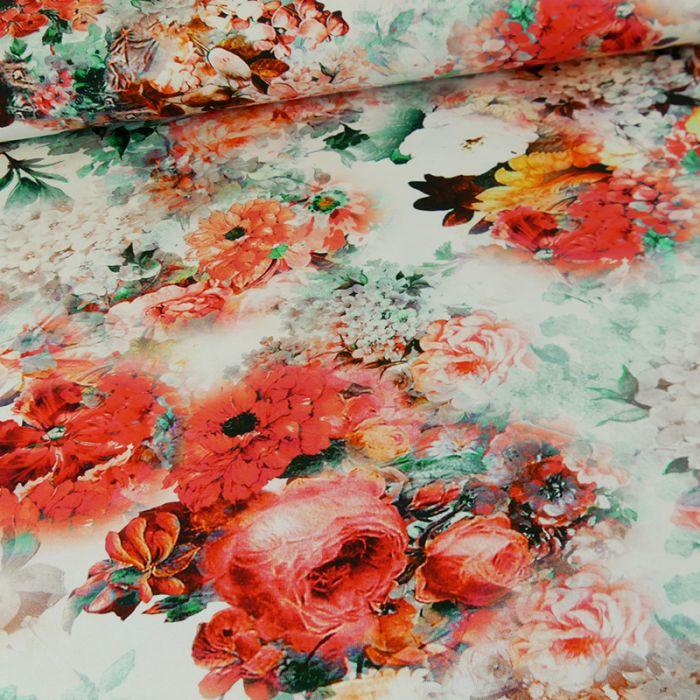 Tissu jersey fleurs - rouge x 10 cm