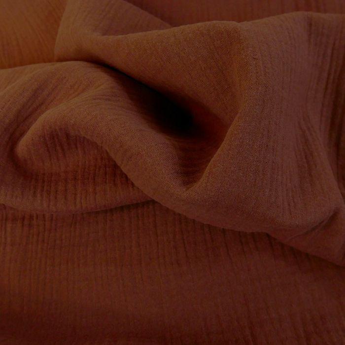 Tissu double gaze - tomette x 10 cm