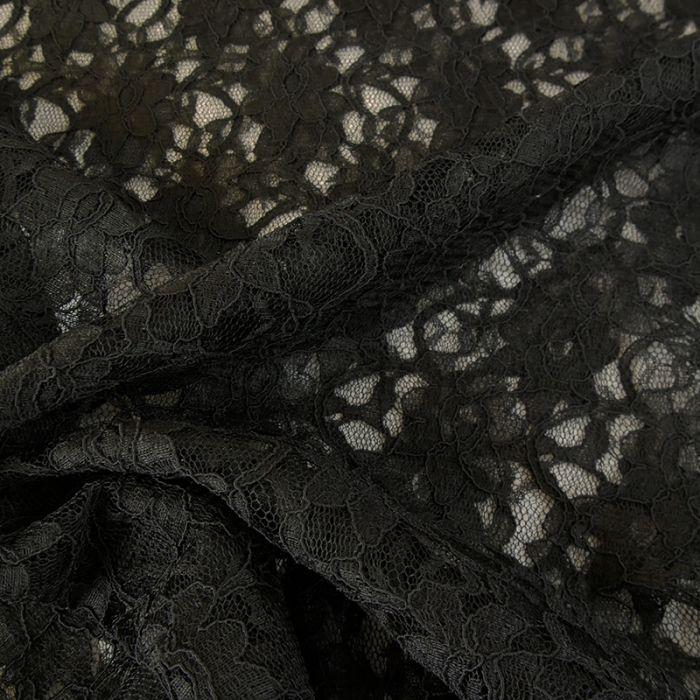 Tissu dentelle fleurs - noir x 10 cm