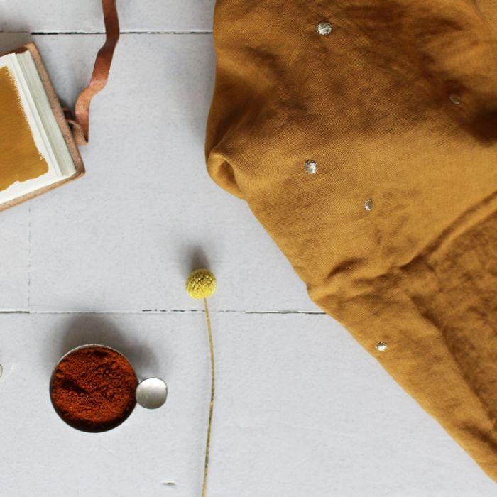 Tissu double gaze Stardust ocre - Atelier Brunette x 10 cm