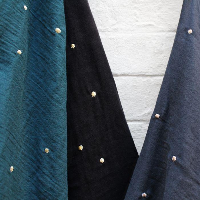 Tissu double gaze Stardust Black - Atelier Brunette x 10 cm