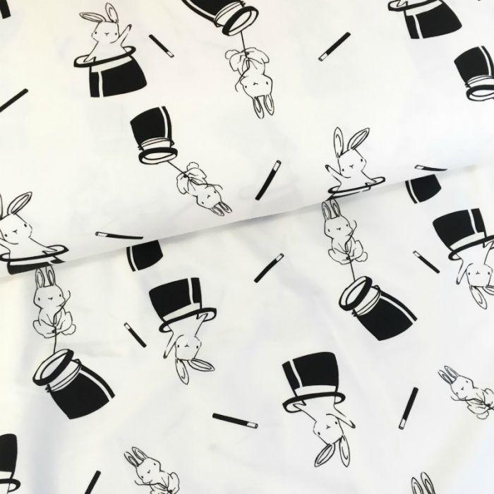 Tissu jersey magique photosensible - lapins x 10 cm