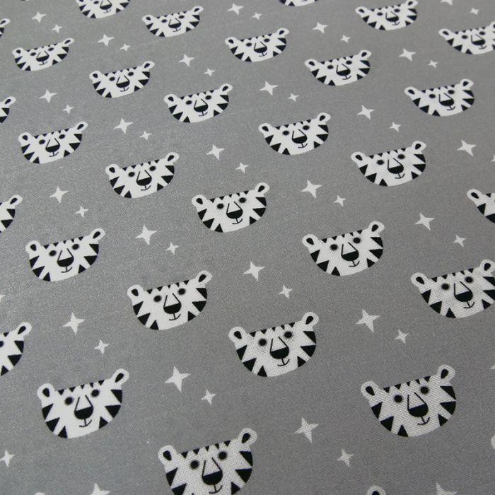 Tissu tigres Copenhagen Print Factory - gris x 10 cm