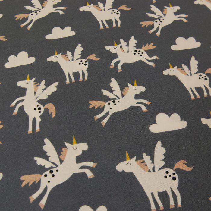 Tissu licornes Copenhagen Print Factory - gris x 10 cm
